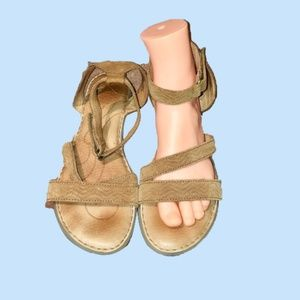 Born Ankle Strap Sandals tan woman's 11M Leather